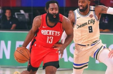 James Harden en Rockets vs Bucks